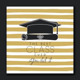 Biglietto d'auguri graduante con cappello e diploma