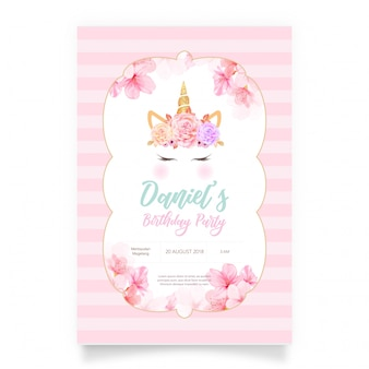 Biglietto d'auguri rosa con un unicorno bianco e glitter oro