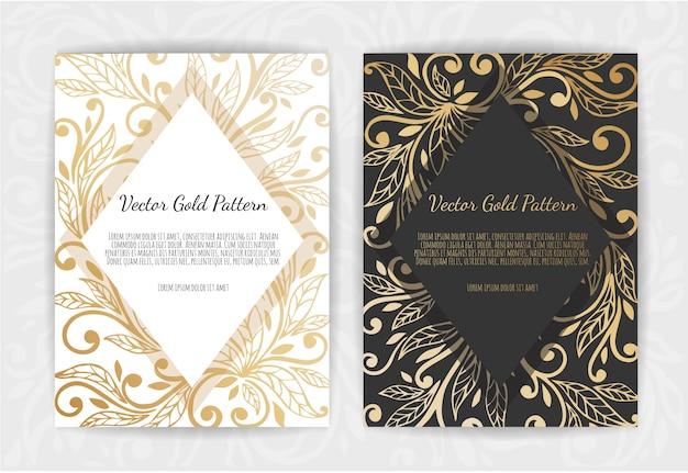 Biglietto d'auguri vintage oro su fondo nero