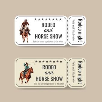 Biglietto da cowboy con rodeo americano