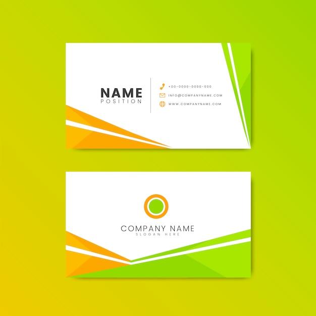 Biglietto da visita arancione e verde