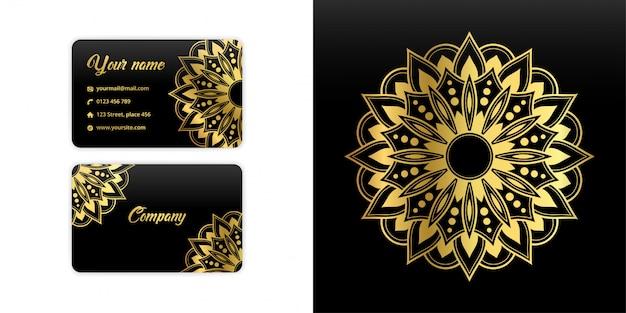 Biglietto da visita astratto mandala. sfondo di arabesque di lusso. motivo floreale impostato in colore oro