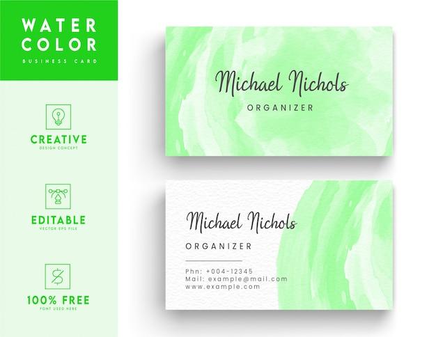 Biglietto da visita astratto verde dell'acquerello