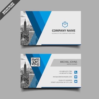 Biglietto da visita aziendale blu e bianco