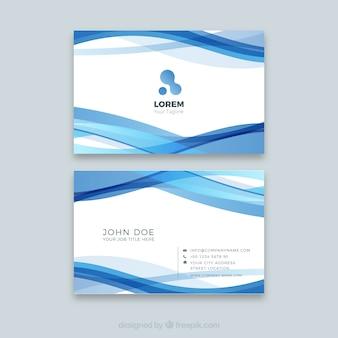 Biglietto da visita aziendale con onde blu
