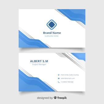 Biglietto da visita bianco astratto con logo e modello di forme blu