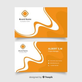 Biglietto da visita bianco e arancione astratto con logo