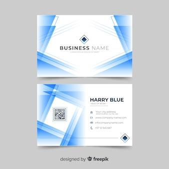 Biglietto da visita bianco e blu astratto con logo