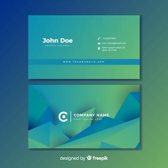 Biglietto da visita blu e verde astratto di gradiente