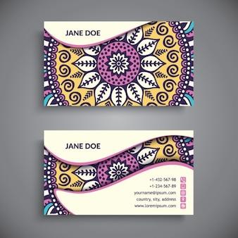 Biglietto da visita boho in stile etnico con mandala