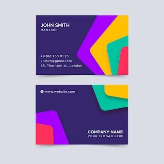 Biglietto da visita colorato astratto con forme