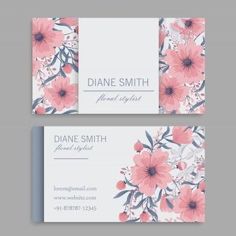 Biglietto da visita con bellissimi fiori. modello