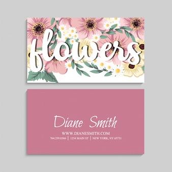 Biglietto da visita con bellissimi fiori rosa