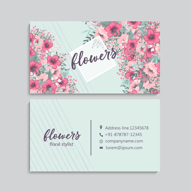 Biglietto da visita con bellissimi fiori