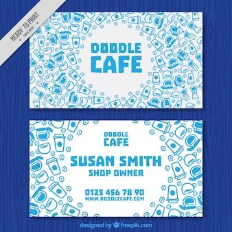 Biglietto da visita con elementi di caffè disegnati a mano