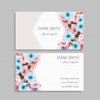 Biglietto da visita con fiori di menta e rosa