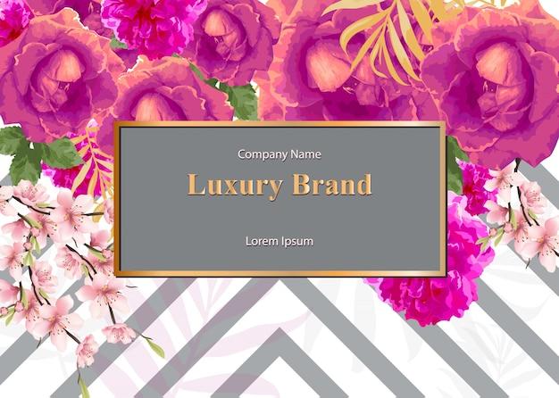 Biglietto da visita con fiori di rosa dell'acquerello. sfondi di design moderno composizione astratta