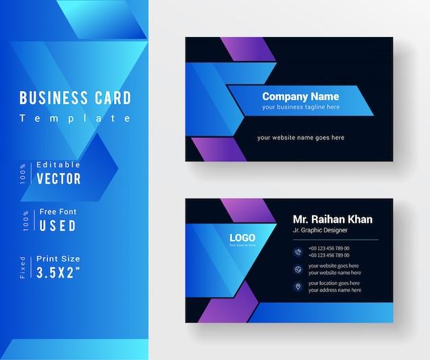 Biglietto da visita creativo di colore blu e nero