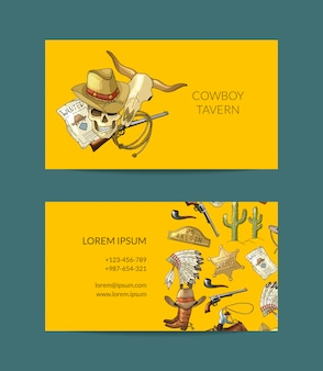 Biglietto da visita da cowboy disegnato a mano