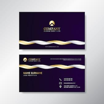 Biglietto da visita dell'onda di lusso con bianco e oro