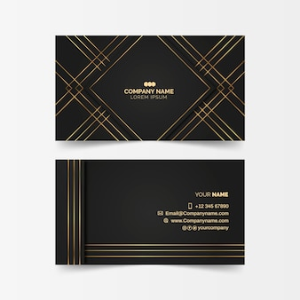Biglietto da visita di lusso con linee dorate