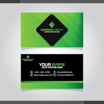 Biglietto da visita e carta di nome creativi moderni verdi e neri