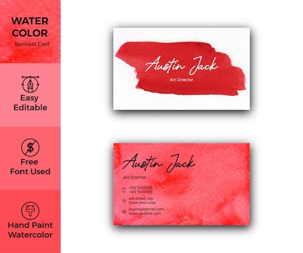Biglietto da visita elegante trama acquerello rosso