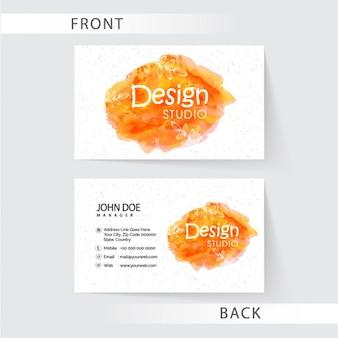 Biglietto da visita floreale con macchie in tonalità di arancione