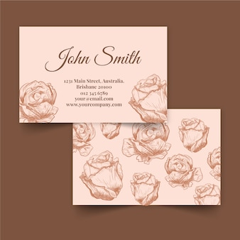 Biglietto da visita floreale disegnato a mano dei fiori di rosa