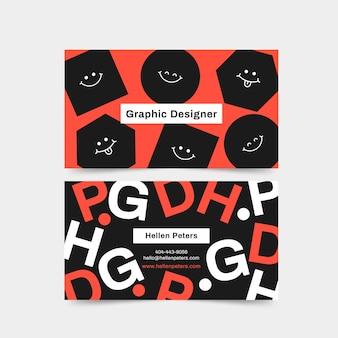 Biglietto da visita graphic designer con facce in bianco e nero