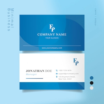 Biglietto da visita intelligente blu e bianco