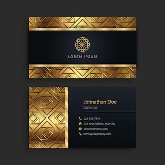 Biglietto da visita nero e oro di lusso