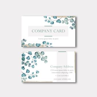 Biglietto da visita o carta dell'azienda con le foglie dell'acquerello
