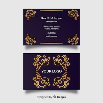 Biglietto da visita ornamentale dorato