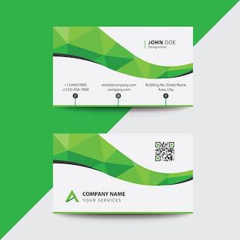 Biglietto da visita pulito design piatto green wave corporate business