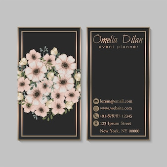 Biglietto da visita scuro di lusso con fiori