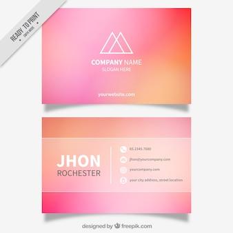 Biglietto da visita sfocato in toni rosa e arancio