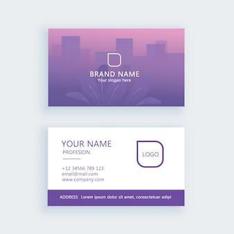 Biglietto da visita sfumato foglia viola minimal logo aziendale