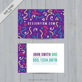 Biglietto da visita viola con forme colorate