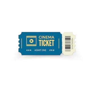 Biglietto del cinema blu su sfondo bianco. modello di biglietto del cinema realistico. illustrazione