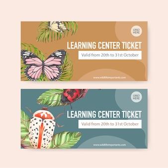 Biglietto dell'insetto con la farfalla, illustrazione dell'acquerello dell'insetto.