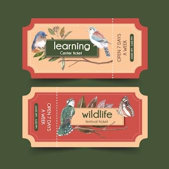 Biglietto dell'uccello e dell'insetto con ghiandaia blu, illustrazione dell'acquerello del bluetail.