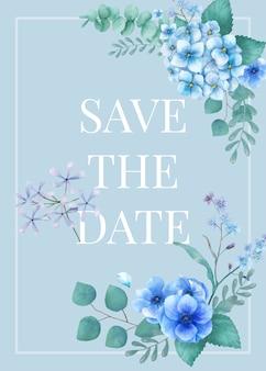 Biglietto di auguri a tema blu con foglie in miniatura