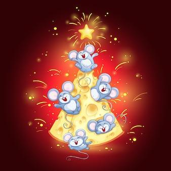 Biglietto di auguri con albero di formaggio e topi divertenti per il capodanno cinese.