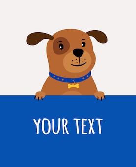 Biglietto di auguri con cane carino felice e posto per il testo sul blu