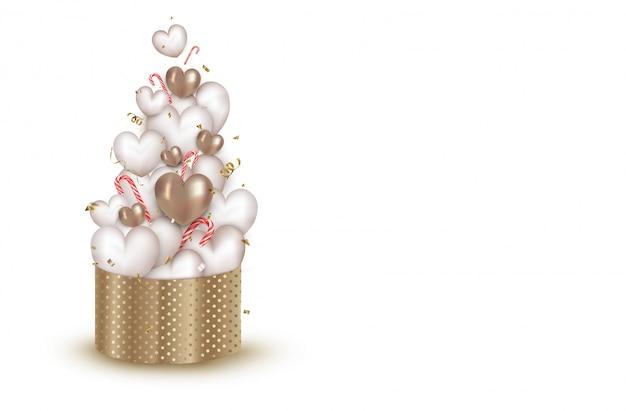 Biglietto di auguri con confezione regalo aperto, simpatici cuori d'oro 3d, coriandoli volanti, serpentine, lecca-lecca. sfondo di celebrazioni per san valentino, giornata internazionale della donna. .