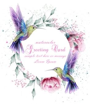 Biglietto di auguri con corona di uccelli humming acquerello