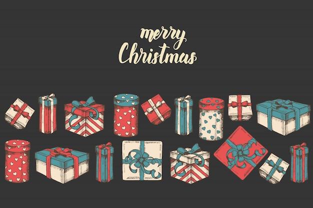Biglietto di auguri con disegnati a mano set di regali, pacchetti e citazione fatta a mano