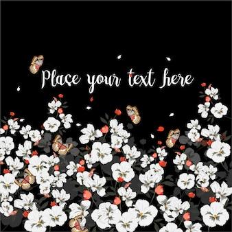 Biglietto di auguri con fiori che sbocciano con farfalla. wildflowers, illustrazione vettoriale