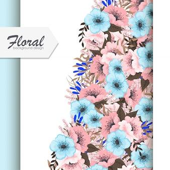 Biglietto di auguri con fiori, fiori rosa e azzurro